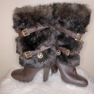 """Michael Kors Brown Leather """"Carlie"""" Boots - 7.5"""